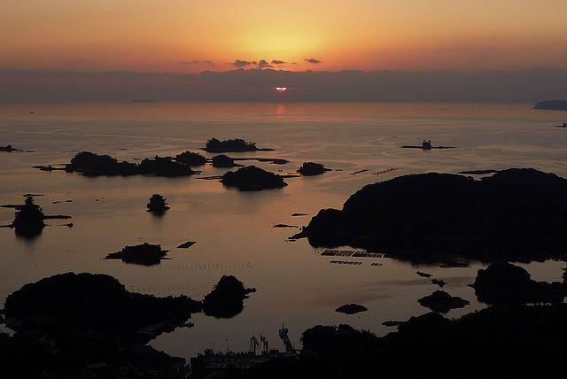 石岳から九十九島の夕日