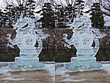 氷彫フェスティバル「龍」立体視交差法